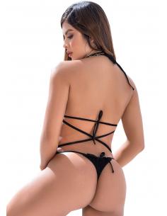 Body minimaliste noir avec lanières très sexy - MAL8541BLK