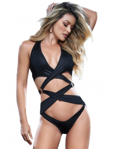 Body sexy en tissu entrecroisé effet mouillé - MAL2646BLK