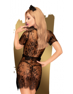 Robe transparente, serre tête et string assorti Noir Poison cookie - PH0063BLK