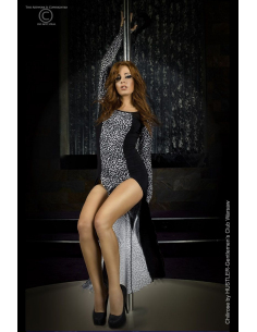Robe longue léopard grise-Chilirose-Tenue sexy chilirose
