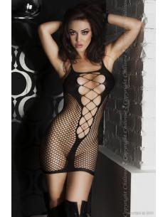 Mini robe en résille noir-Chilirose-06.Prêt à porter