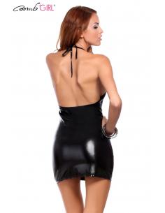 Robe courte sexy noir style laqué BB534-Bomb Girl-06.Prêt à porter
