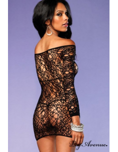 Robe Lingerie Manches longues - Filet web - LEG AVENUE 86570-Leg Avenue-06.Prêt à porter