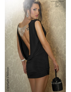 Robe courte sexy Strass noir CR3216