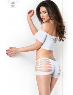 Top + Shorts manches courtes blanc