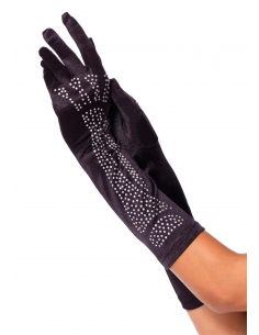 Gants Long Satin Squelette en Strass